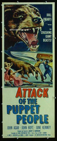 z037 ATTACK OF THE PUPPET PEOPLE insert movie poster '58 great image!