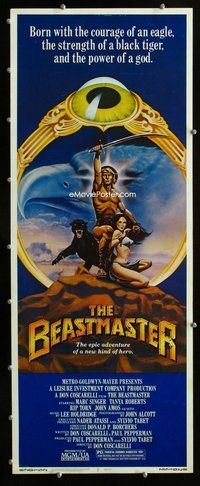 z045 BEASTMASTER insert movie poster '82 Marc Singer, Tanya Roberts