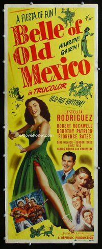 z047 BELLE OF OLD MEXICO insert movie poster '50 Rodriguez, Rockwell