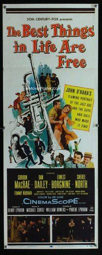 z049 BEST THINGS IN LIFE ARE FREE insert movie poster '56 MacRae