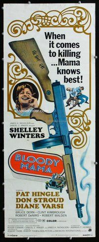z057 BLOODY MAMA insert movie poster '70 AIP, crazy Shelley Winters!