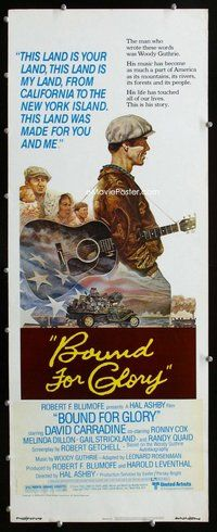 z059 BOUND FOR GLORY insert movie poster '76 David Carradine, Jung art