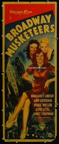 z063 BROADWAY MUSKETEERS insert movie poster '38 sexy Ann Sheridan!