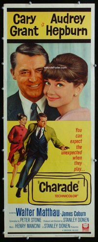 z080 CHARADE insert movie poster '63 Cary Grant, Audrey Hepburn