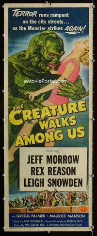 z003 CREATURE WALKS AMONG US insert movie poster '56 great sequel!