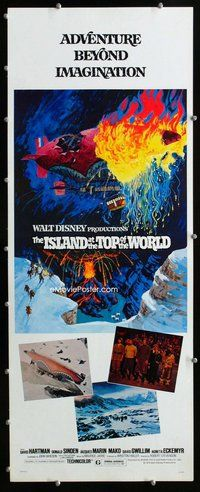 z201 ISLAND AT THE TOP OF THE WORLD insert movie poster '74 Disney