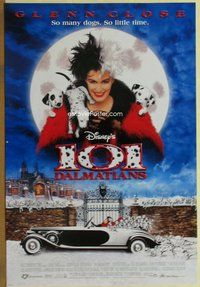 a003 101 DALMATIANS DS one-sheet movie poster '96 Disney, Glenn Close