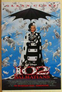 a004 102 DALMATIANS DS advance one-sheet movie poster '00 Disney, Glenn Close