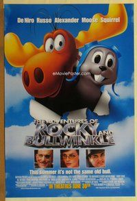 a006 ADVENTURES OF ROCKY & BULLWINKLE DS advance one-sheet movie poster '00