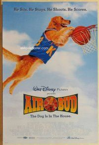 a007 AIR BUD DS one-sheet movie poster '97 basketball playing dog slam dunk!