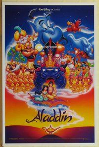 a009 ALADDIN DS one-sheet movie poster '92 Walt Disney, entire cast style!