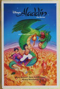 a010 ALADDIN TV one-sheet television poster '94 Disney television series!