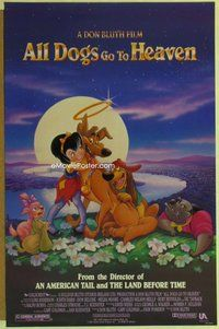 a011 ALL DOGS GO TO HEAVEN DS one-sheet movie poster '89 Don Bluth, Deluise
