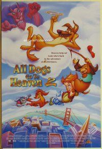 a012 ALL DOGS GO TO HEAVEN 2 DS one-sheet movie poster '96 canine cartoon!