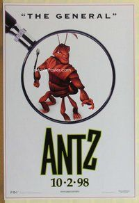 a020 ANTZ advance one-sheet movie poster '98 Gene Hackman, The General!