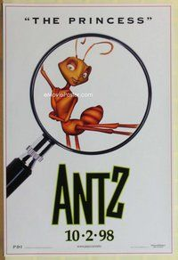 a022 ANTZ advance one-sheet movie poster '98 Sharon Stone, The Princess!