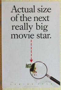 a019 ANTZ DS advance one-sheet movie poster '98 actual size under spyglass!