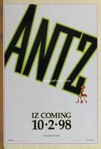 a021 ANTZ iz coming style advance 1sh '98 Woody Allen, computer animated insects, every ant has his day!