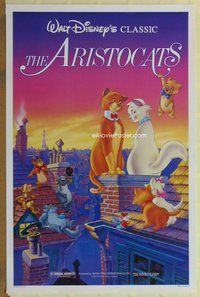 a025 ARISTOCATS one-sheet movie poster R87 Walt Disney feline cartoon!