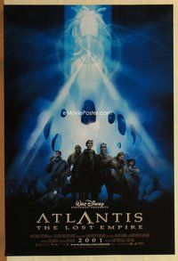 a026 ATLANTIS THE LOST EMPIRE DS advance one-sheet movie poster '01 Disney