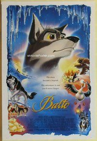 a028 BALTO one-sheet movie poster '95 true story wolf adventure cartoon!