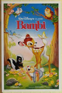 a029 BAMBI one-sheet movie poster R88 Walt Disney cartoon deer classic!