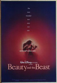 a031 BEAUTY & THE BEAST one-sheet movie poster '91 Disney, dancing style!