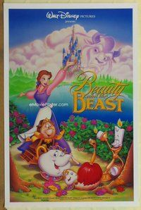 a032 BEAUTY & THE BEAST DS one-sheet movie poster '91 Disney, cast style!