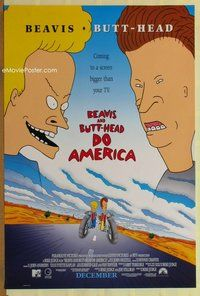a033 BEAVIS & BUTT-HEAD DO AMERICA DS advance one-sheet movie poster '96