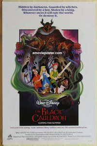 a037 BLACK CAULDRON advance int'l one-sheet movie poster '85 first Walt Disney CG!