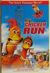 a042 CHICKEN RUN video one-sheet movie poster '00 Nick Park claymation!