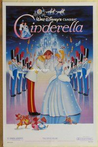 a043 CINDERELLA one-sheet movie poster R87 Walt Disney classic cartoon!