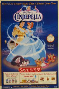 a044 CINDERELLA video one-sheet movie poster R95 Disney classic cartoon!