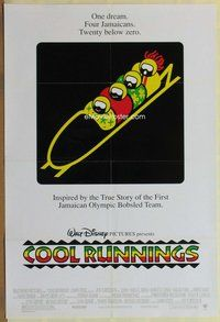 a045 COOL RUNNINGS DS one-sheet movie poster '93 John Candy, bobsledding!