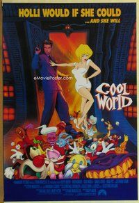 a046 COOL WORLD DS one-sheet movie poster '92 Brad Pitt, Kim Basinger