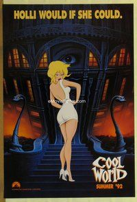 a047 COOL WORLD teaser one-sheet movie poster '92 cartoon Kim Basinger!