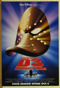 a049 D3: THE MIGHTY DUCKS DS advance one-sheet movie poster '96 Estevez