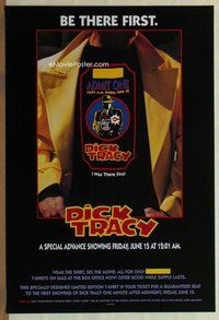 a052 DICK TRACY DS ticket style advance one-sheet movie poster '90 Beatty