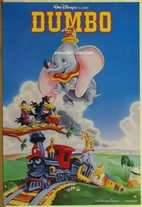 a055 DUMBO DS one-sheet movie poster R90s Walt Disney circus classic!