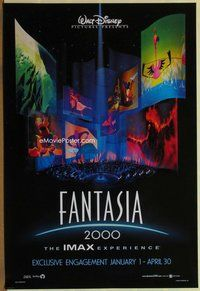 a059 FANTASIA 2000 DS one-sheet movie poster '99 Walt Disney cartoon, IMAX!