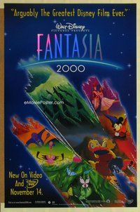 a060 FANTASIA 2000 video one-sheet movie poster '99 Disney musical!