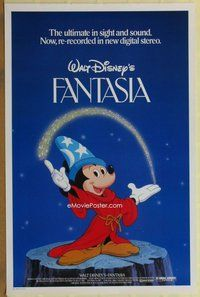 a056 FANTASIA one-sheet movie poster R82 Mickey Mouse, Disney classic!