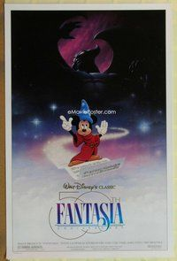a058 FANTASIA DS one-sheet movie poster R90 Mickey Mouse, Disney classic!