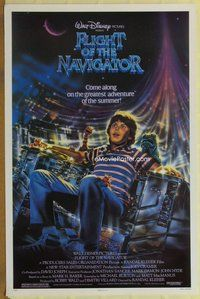 a063 FLIGHT OF THE NAVIGATOR one-sheet movie poster '86 Disney sci-fi!