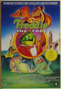 a067 FREDDIE THE FROG video one-sheet movie poster '92 English cartoon!