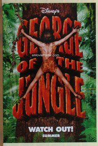 a069 GEORGE OF THE JUNGLE DS teaser one-sheet movie poster '97 Brendan Fraser