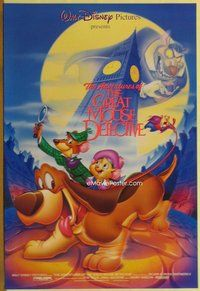 a071 GREAT MOUSE DETECTIVE DS one-sheet movie poster R92 Disney cartoon!