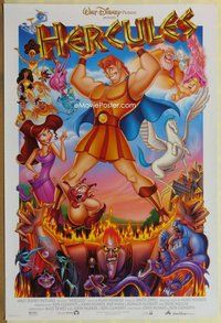 a073 HERCULES DS one-sheet movie poster '97 Walt Disney, entire cast!
