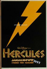 a074 HERCULES DS black teaser one-sheet movie poster '97 Walt Disney