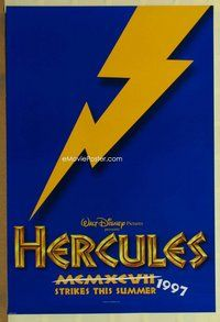 a075 HERCULES DS blue teaser one-sheet movie poster '97 Walt Disney